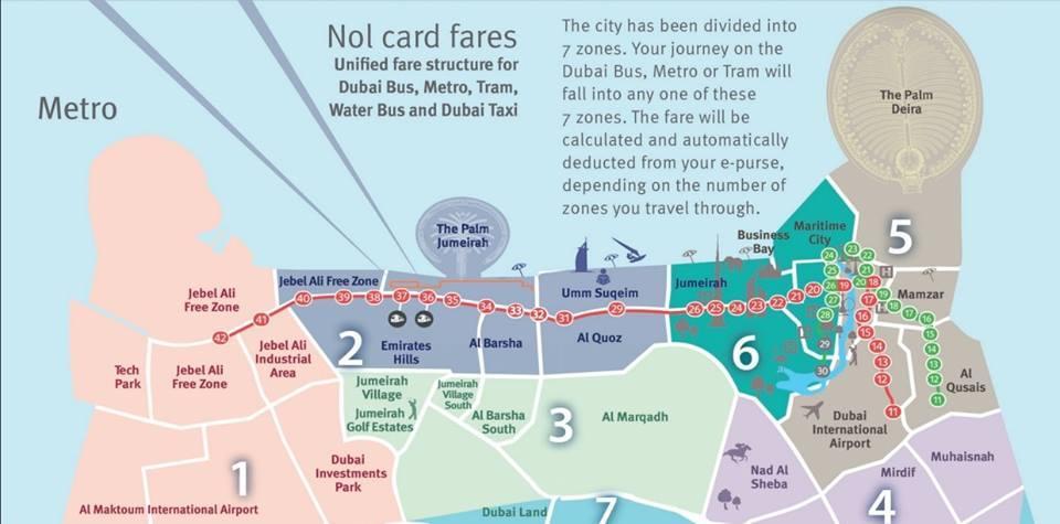 Zones de tarification du metro de dubai